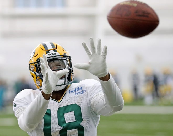Green Bay Packers wide receiver Randall Cobb (18) catches machine fed balls during practice Thursday, September 20, 2018 inside the Don Hutson Center in Ashwaubenon, Wis.