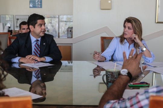 United States 36th House District Democratic Congressman Raul Ruiz, M.D. spars with his Republican challenger Kimberlin Brown Pelzer during a meeting of the Desert Sun editorial board on Thursday, September 20, 2018 in Palm Springs.