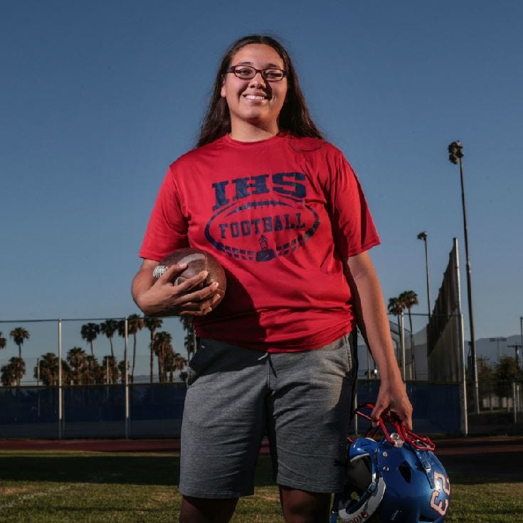 She's a high school linebacker and a world-class singer: The many talents of Indio's Dakota De La Torre