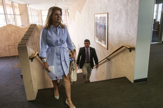 United States 36th House District Democratic congressman Raul Ruiz, M.D. and his Republican challenger Kimberlin Brown Pelzer arrive to meet with the Desert Sun editorial board on Thursday, September 20, 2018 in Palm Springs.