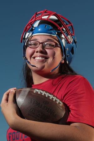Dakota De La Torre is a talented singer; and she plays linebacker for Indio High School. Photo taken on Wednesday, September 19, 2018 in Indio.