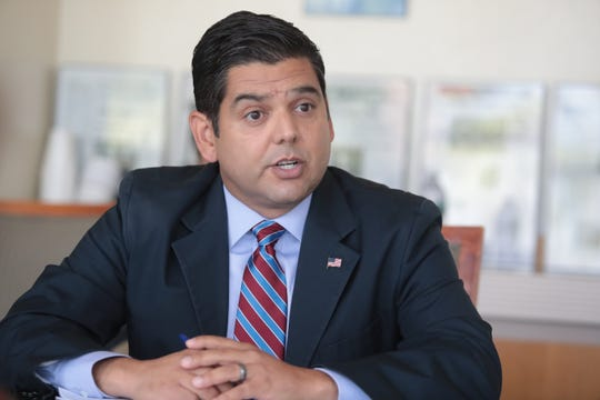 United States 36th House District incumbent congressman  Raul Ruiz M.D. speaks to the Desert Sun editorial board on Thursday, September 20, 2018 in Palm Springs along with his challenger, republican challenger Kimberlin Brown Pelzer.