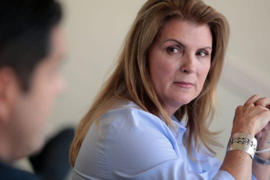 United States 36th House District Republican candidate Kimberlin Brown Pelzer listens to the incumbent Democrat Raul Ruiz, M.D. during a meeting of the Desert Sun editorial board on Thursday, September 20, 2018 in Palm Springs.
