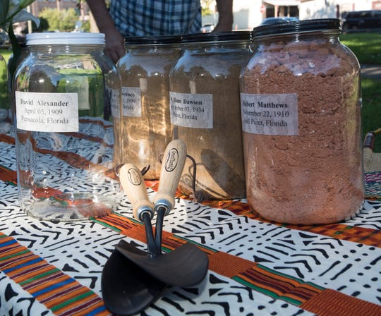 Soil samples from the site of two lynchings are collected in Plaza Ferdinand on Thursday, Sept. 20, 2018. Leander Shaw and David Alexander were both lynched in the city park in the early 1900s. Shaw in 1908 and Alexander in 1909.