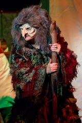 """Cast members of the Pensacola Little Theatre's production of """"Into the Woods"""" run through a dress rehearsal of the musical on Monday, September 17, 2018. Sheryl VandenBerg is performing as the Witch for the third time since 1991."""
