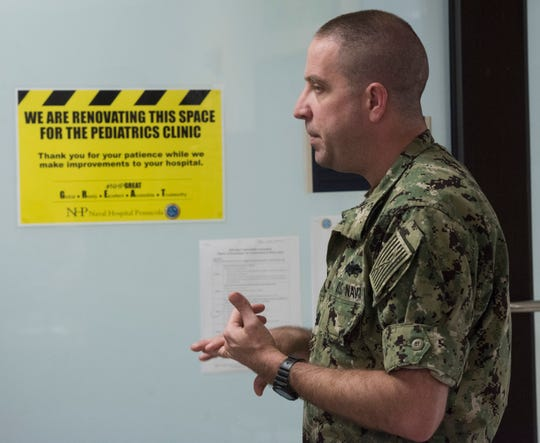 U.S. Navy Cmdr. John Moree talks Thursday about changes taking place at the Pensacola Naval Hospital.
