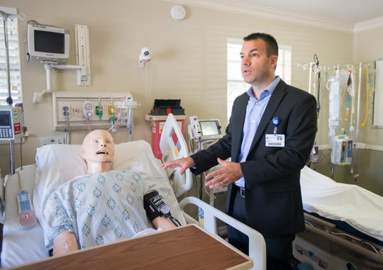 Jason Chancey, director of clinical education services, talks Thursday about the Simulation Lab at Baptist Health Care's Organizational Development and Clinical Education facility in Pensacola.