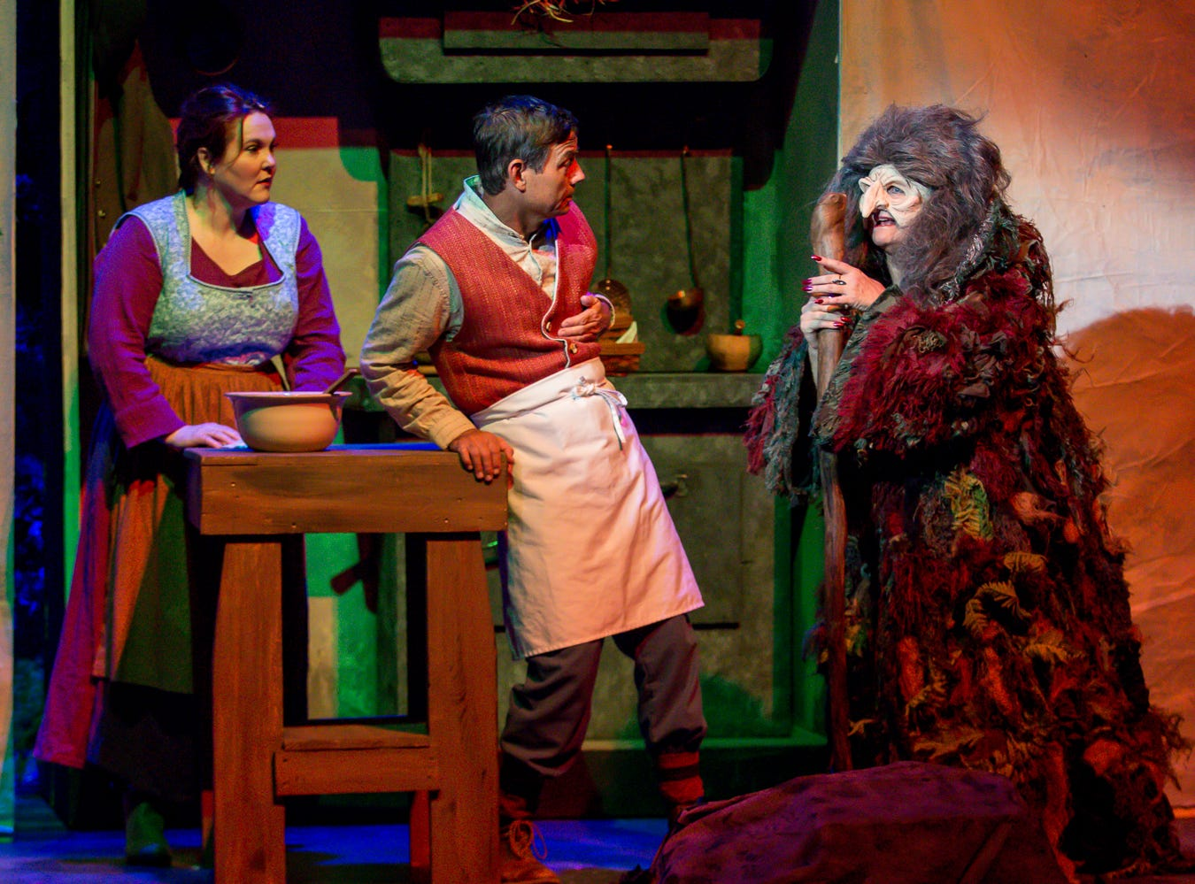 "Cast members of the Pensacola Little Theatre's production of ""Into the Woods"" run through a dress rehearsal of the musical on Monday, September 17, 2018. Sheryl VandenBerg, right, is performing as the Witch for the third time since 1991."