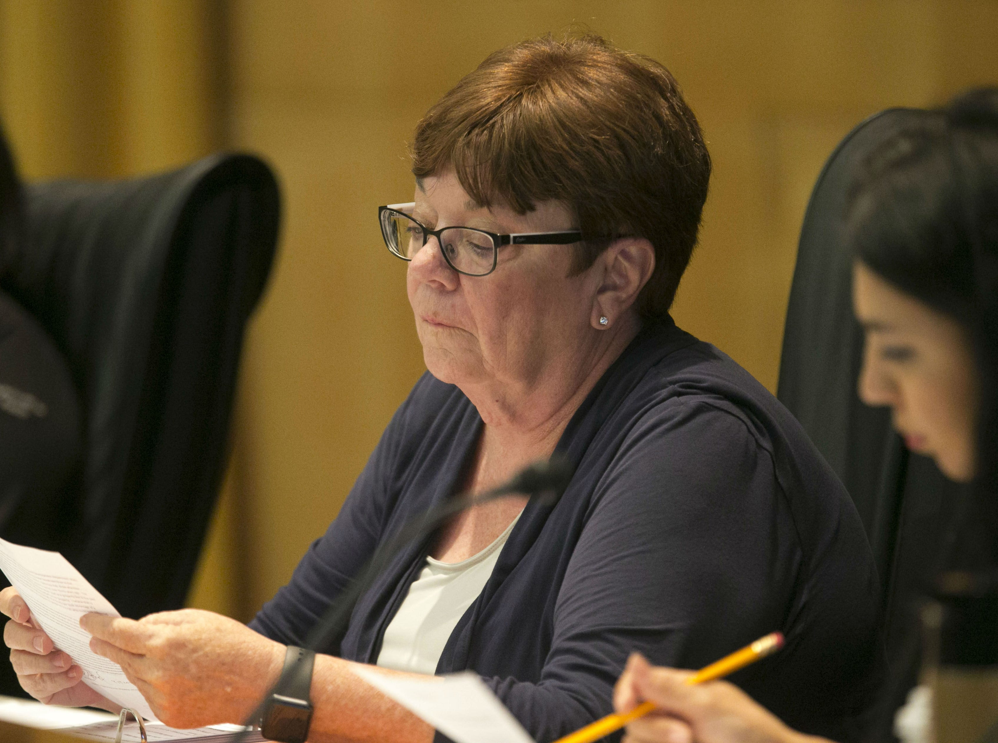 Phoenix City Councilwoman Debra Stark during a Phoenix City Council meeting at the Phoenix City Council Chambers on Sept. 19, 2018.