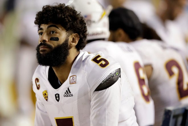 Arizona State quarterback Manny Wilkins looks on from the sidelines during the second half of an NCAA college football game against San Diego State Saturday, Sept. 15, 2018, in San Diego. San Diego State won 28-21.