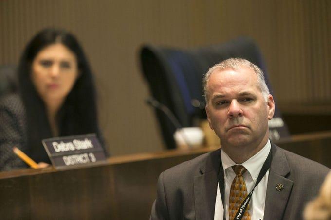 Ed Zuercher, the Phoenix City Manager, looks on during a Phoenix City Council meeting at the Phoenix City Council Chambers on Sept. 19, 2018.