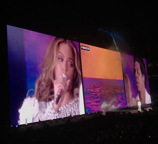 Beyonce and Jay-Z perform during their On The Run II concert at State Farm Stadium in Glendale on Sept. 19, 2018.