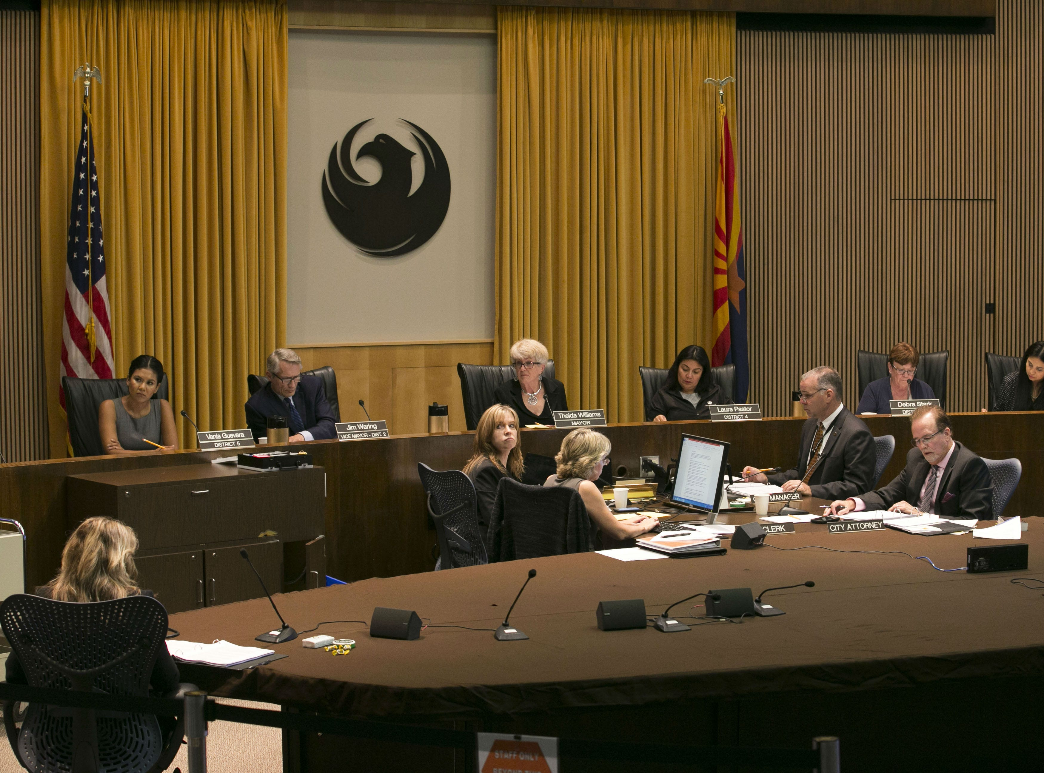 A Phoenix City Council meeting at the Phoenix City Council Chambers on Sept. 19, 2018.