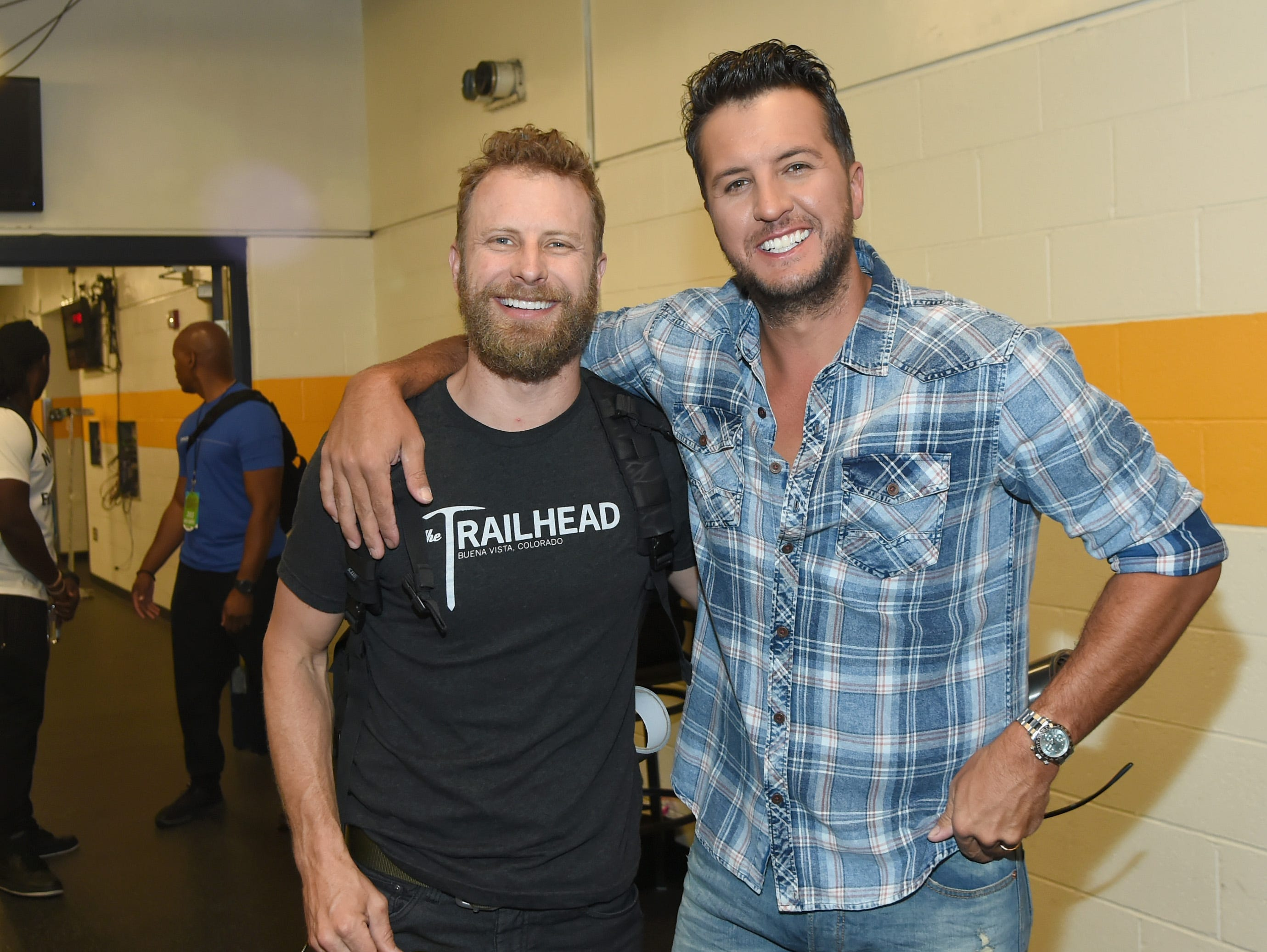 Dierks Bentley (left) and Luke Bryan attend the 2018 CMT Music Awards - Backstage & Audience at Bridgestone Arena on June 6, 2018, in Nashville.