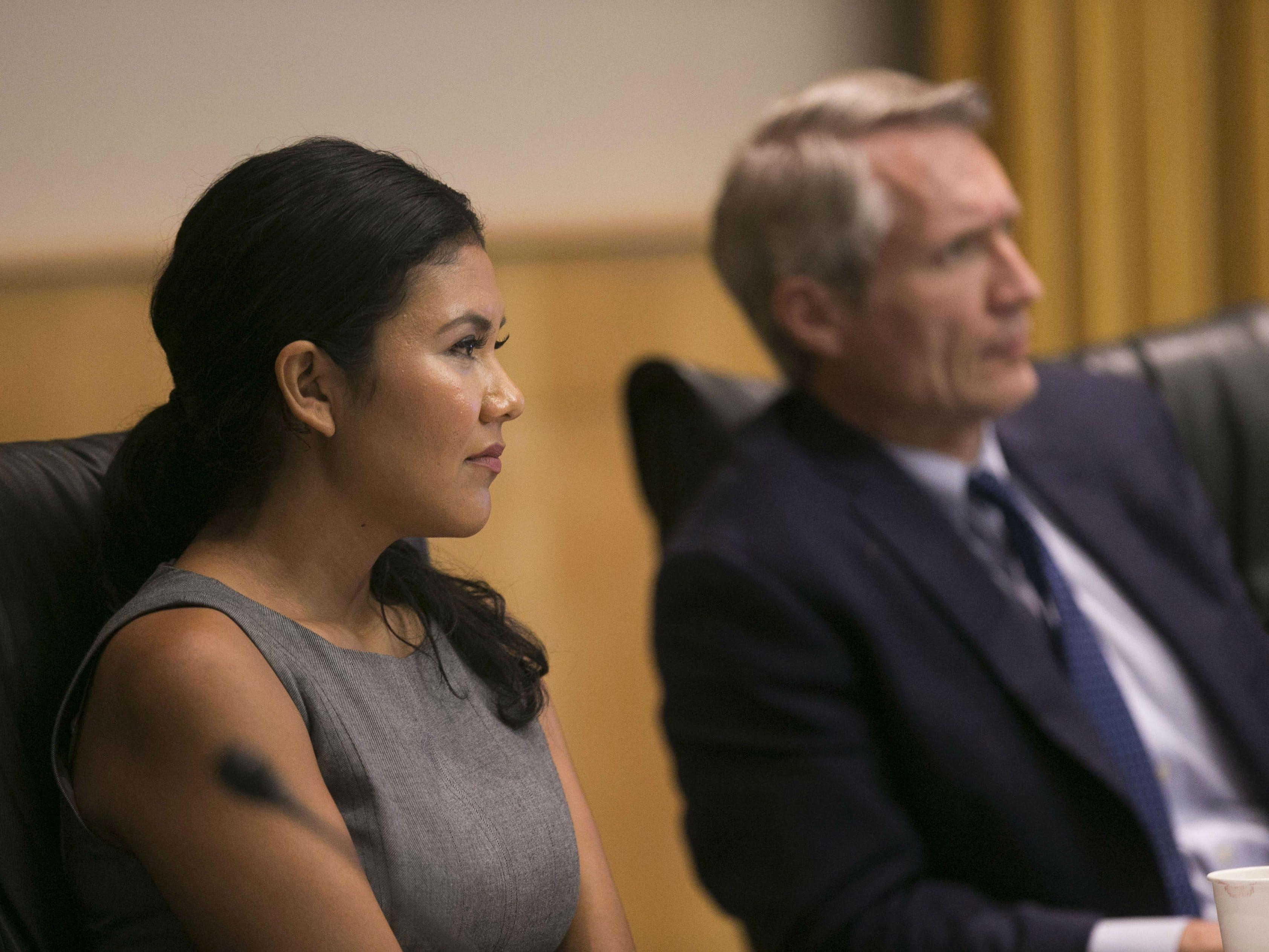 Phoenix City Councilwoman Vania Guevara and Vice Mayor Jim Waring during a Phoenix City Council meeting at the Phoenix City Council Chambers on Sept. 19, 2018.