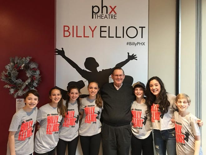 George Boutell with the child cast members of Billy Elliot at Phoenix Theatre.