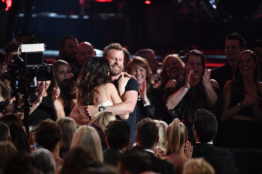 Dierks Bentley hugs his wife, Cassidy Black, after performing during the 53rd Academy of Country Music Awards at the MGM Grand Garden Arena  on April 15, 2018, in Las Vegas.