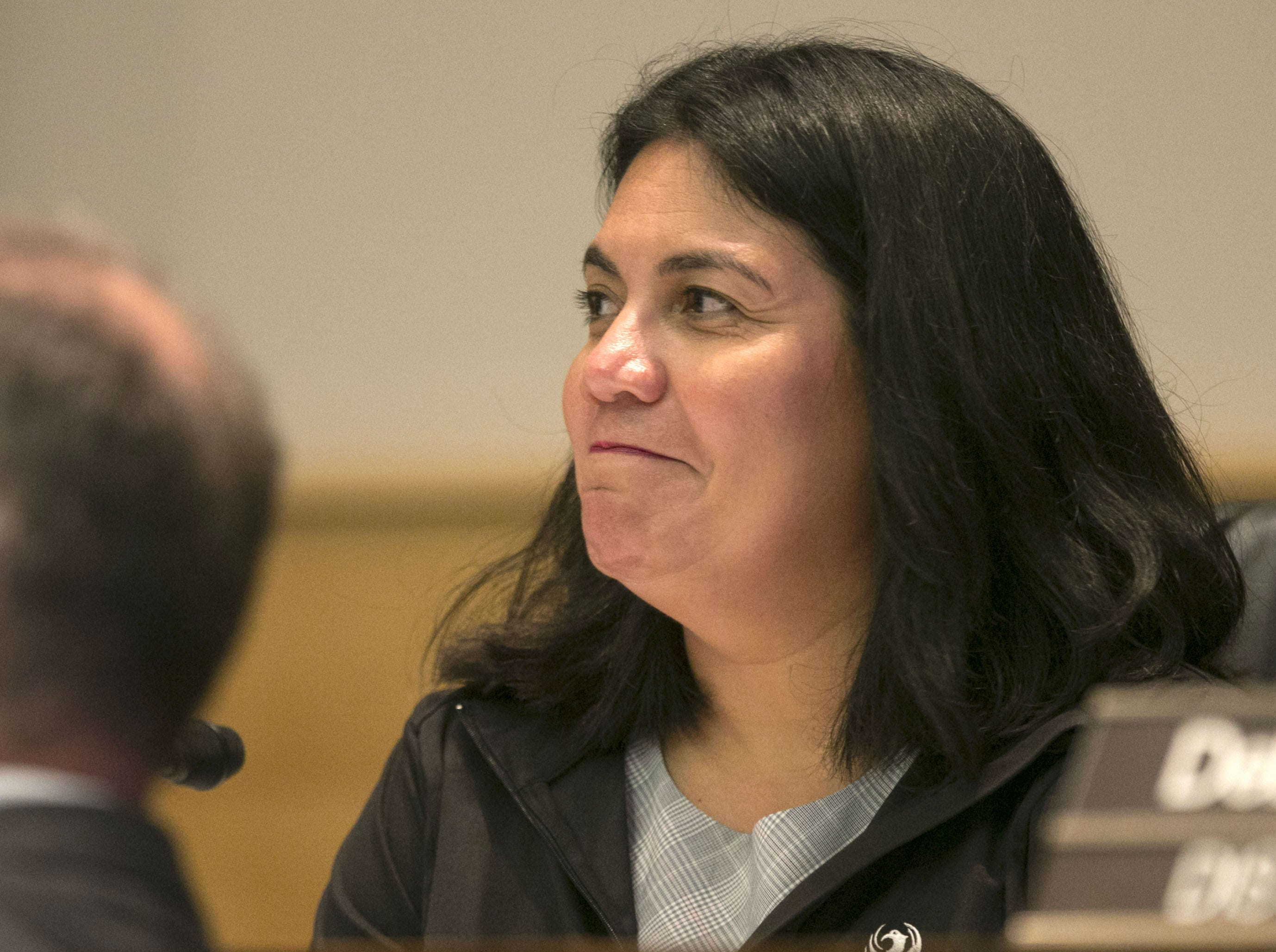 Phoenix City Councilwoman Laura Pastor listens during a Phoenix City Council meeting at the Phoenix City Council Chambers on Sept. 19, 2018.