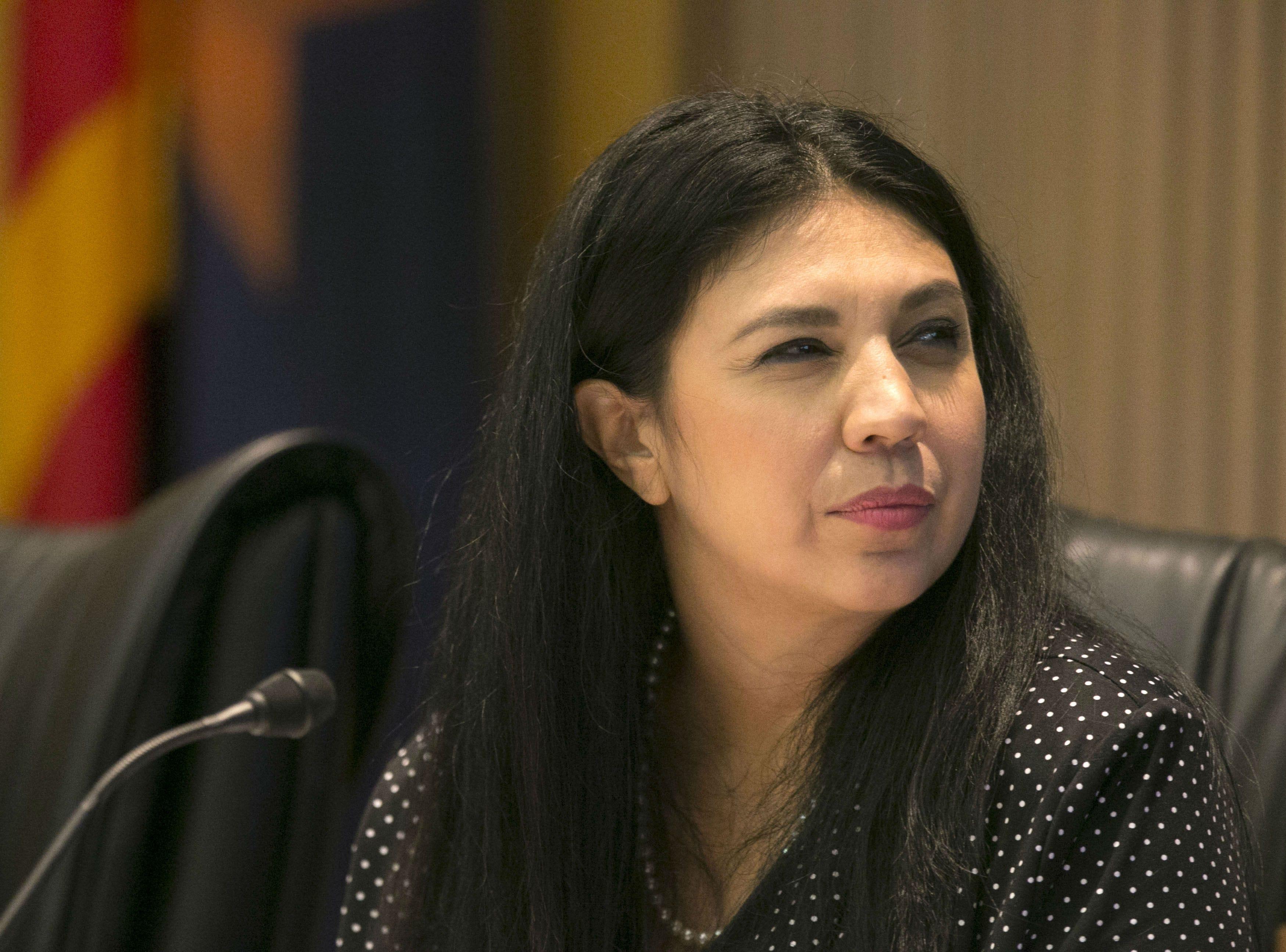 Phoenix City Councilwoman Felicita Mendoza listens during a Phoenix City Council meeting at the Phoenix City Council Chambers on Sept. 19, 2018.