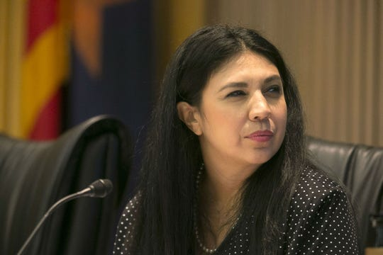 Phoenix City Councilwoman Felicita Mendoza listens during a Phoenix City Council meeting at the Phoenix City Council Chambers on Sept. 19, 2018.