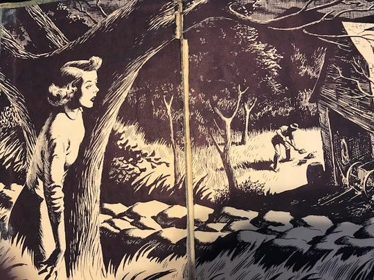 "The endpapers from the 1944 Nancy Drew mystery ""The Secret in the Old Attic"" shows the girl detective at work."