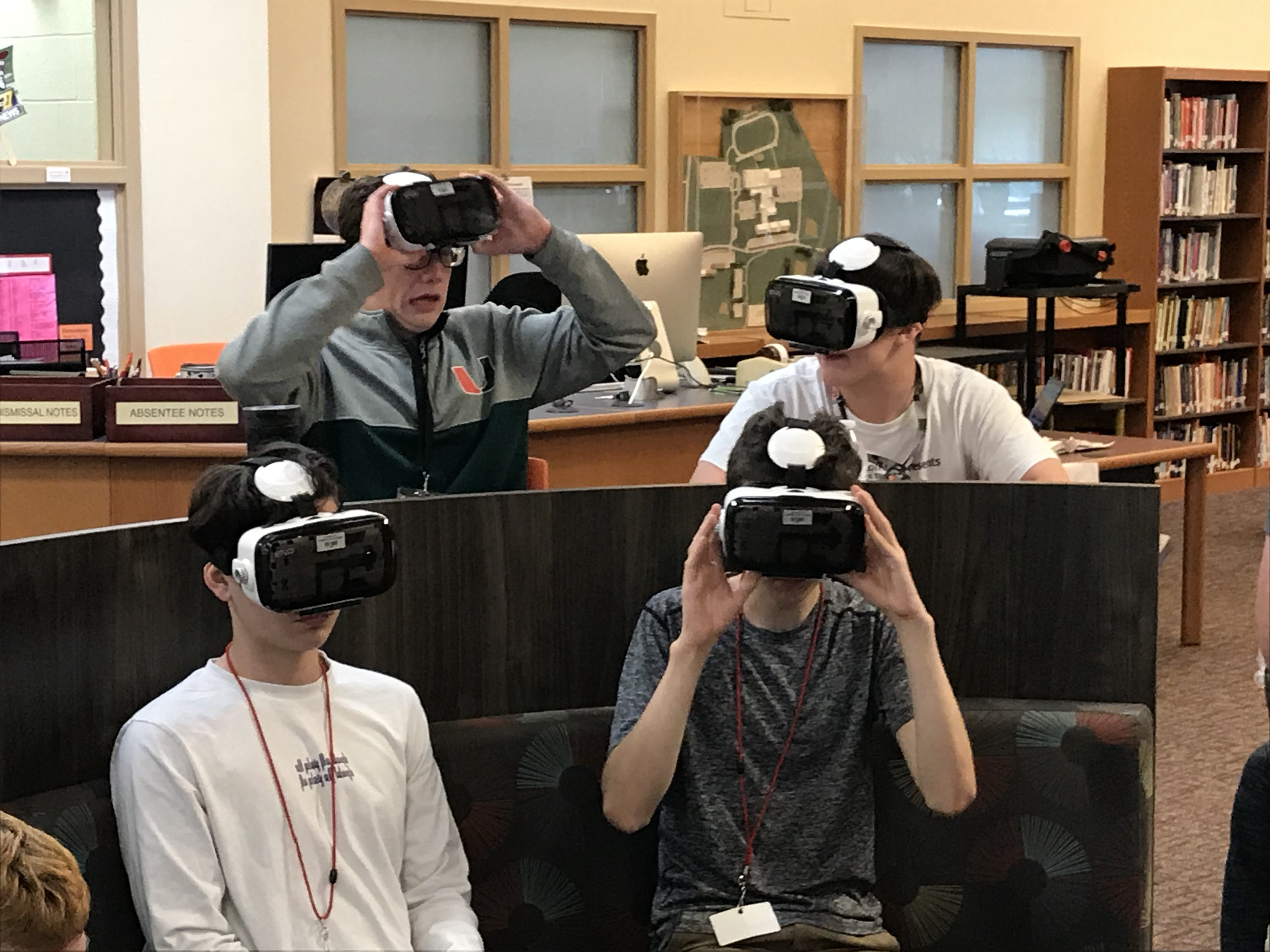 Students at Annville-Cleona HIgh School use virtual reality goggles to learn about the earth, sun and moon.