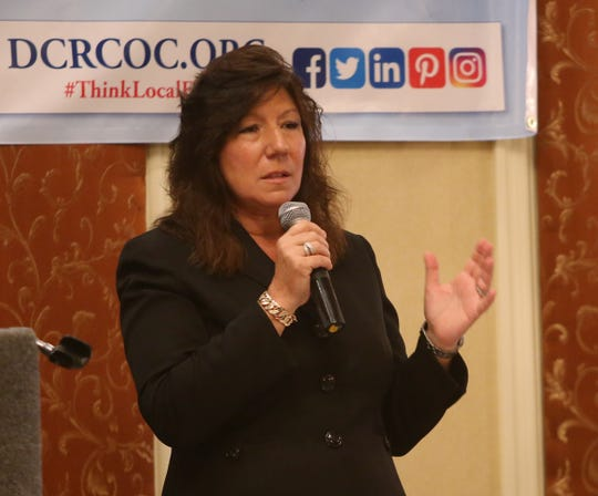 New York State Senator Sue Serino speaks during Thursday's Dutchess County Regional Chamber of Commerce contact breakfast in the City of Poughkeepsie on September 20, 2018.