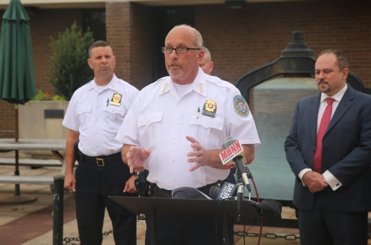 Police Chief Thomas Pape speaks during a press conference on Thursday afternoon announcing the city is asking 3,000 households to fill out a survey about community-police relations. He spoke about the importance of principles like treating people with fairness and respect.
