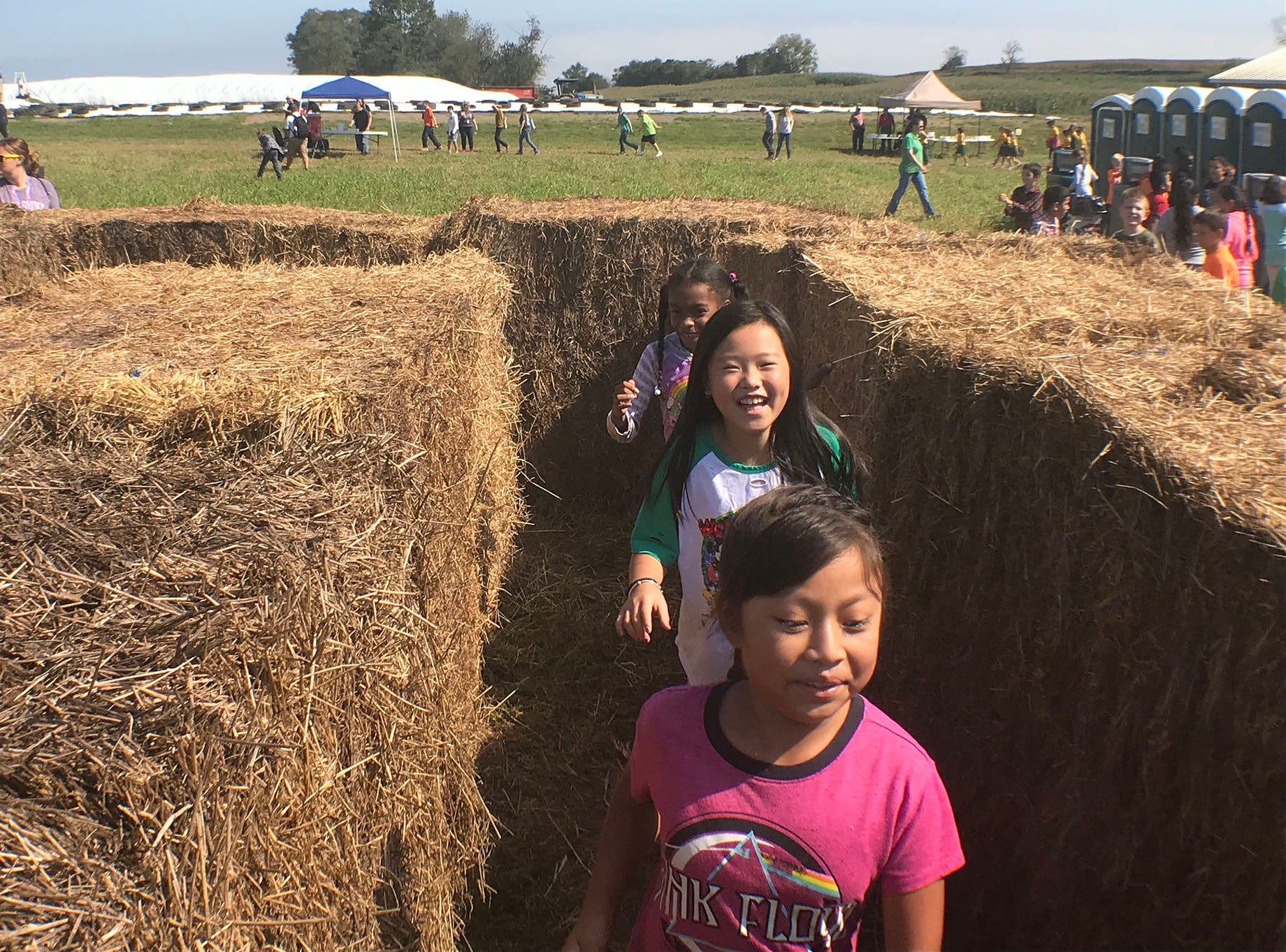Students find their way out of the hay maze. Franklin County fourth-graders are visiting the Franklin Fall Farm Fun Fest, today.  The annual event is being hosted by a father-daughter dairy farming team, Musser Farm. The students' trip is hosted by the Agriculture Education Institute. The fest itself is hosted by the Franklin County Farm Bureau.