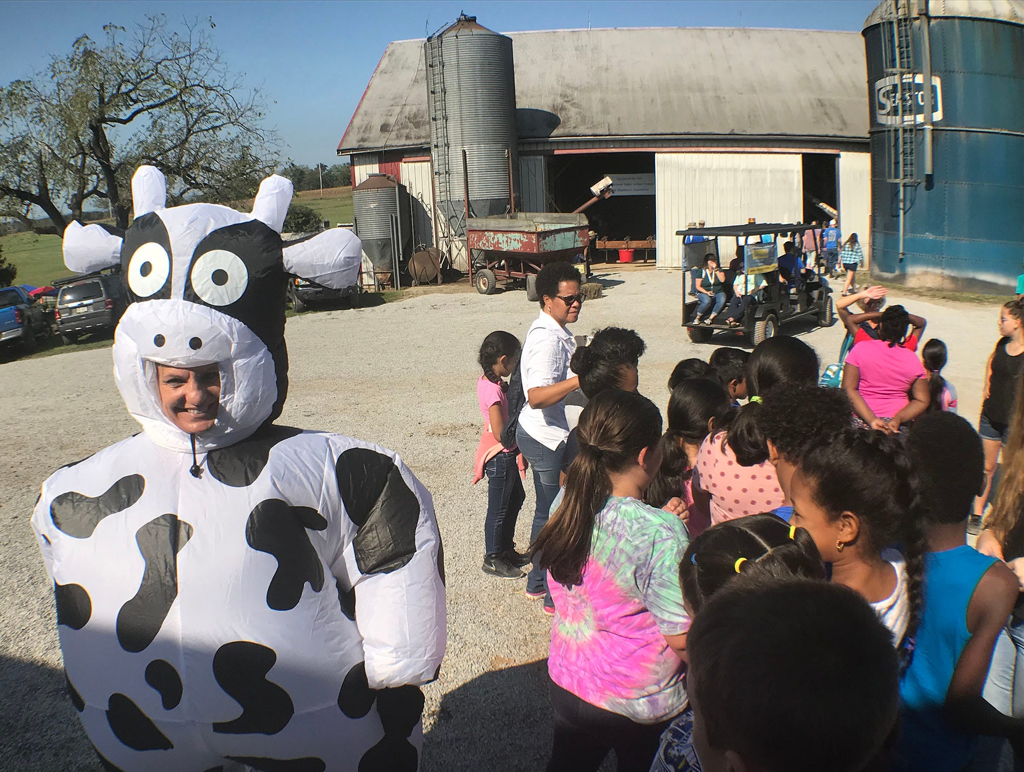 Franklin County fourth-graders are visiting the Franklin Fall Farm Fun Fest, today. The annual event is being hosted by a father-daughter dairy farming team, Musser Farm. The students' trip is hosted by the Agriculture Education Institute. The fest itself is hosted by the Franklin County Farm Bureau.