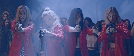 """Odessa Young, Suki Waterhouse, Hari Nef, and Abra star in """"Assassination Nation."""" The movie is playing at Regal West Manchester Stadium 13 and Frank Theatres Queensgate Stadium 13."""