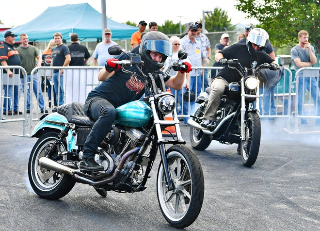 Ives Brothers Stunting performs during the York Bike Week Harley-Davidson York Vehicle Operations Open House in Springettsbury Township, Thursday, Sept. 20, 2018. Dawn J. Sagert photo