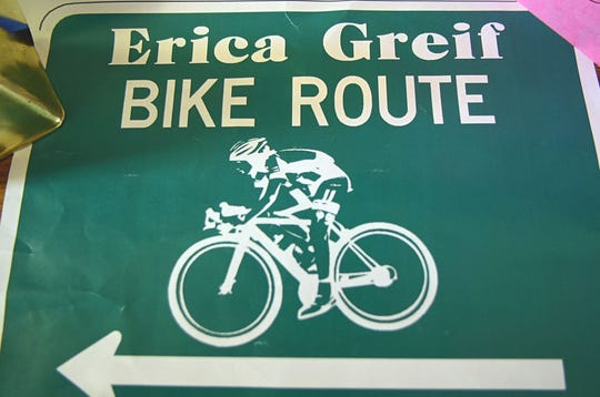 A photo of a sign of the Erica Greif Bike Route. Grief was killed in a head-on crash while driving to Redland Bicycle Classic Race in 2015. The Regional Transportation Commission named a bicycle route in her name. The RTC will also dedicate a multi use path on the Southeast Connecter in her honor on Sept. 22, 2018.