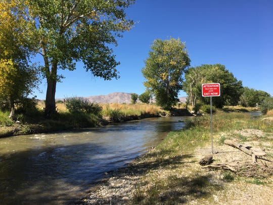 A takeout sign for people floating the East Walker River in the Walker River State Recreation Area. Shown Sept. 19, 2018.
