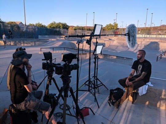 Filming in Las Vegas.