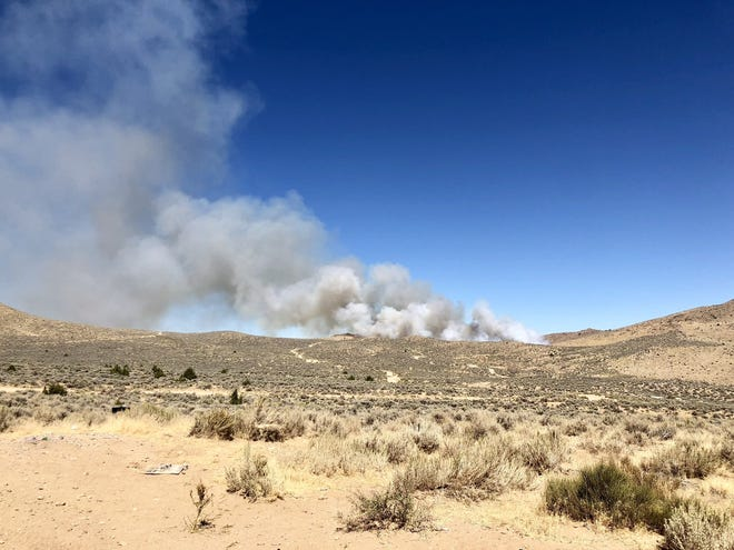 The smoke plume from the Leon Fire burning near Sun Valley on Sept. 20.