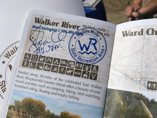 A Nevada State Parks passport signed Sept. 19, 2018 by Gov. Brian Sandoval during the opening ceremony for the Walker River State Recreation Area.