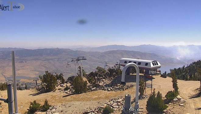 A brushfire in Washoe Valley seen from an AlertTahoe fire camera at the Mt. Rose ski area on Sept. 20.