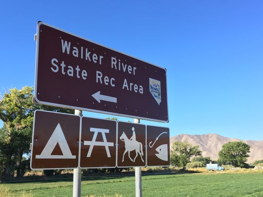 A sign near Yerington, Nev., directs visitors to the Walker River State Recreation Area.