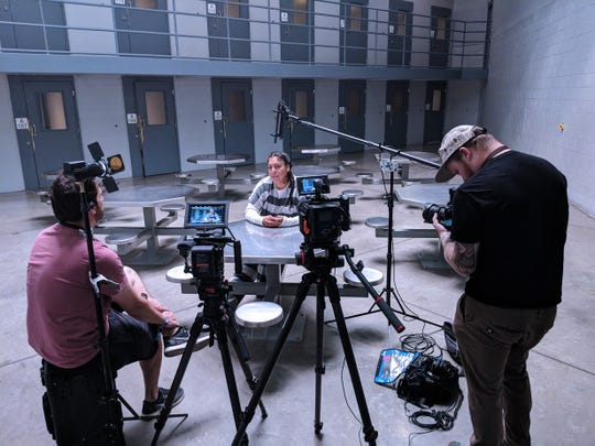 Filming in the Lyon County Jail.