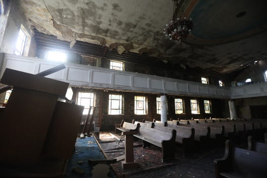 Because of damage to the stairs and possibly the floors, the upper portion of the synagogue is inaccessible.