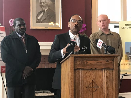 The Rev. Lewis Stewart discusses proposed legislation that would create an independent police accountability board in Rochester on Sept. 20, 2018.