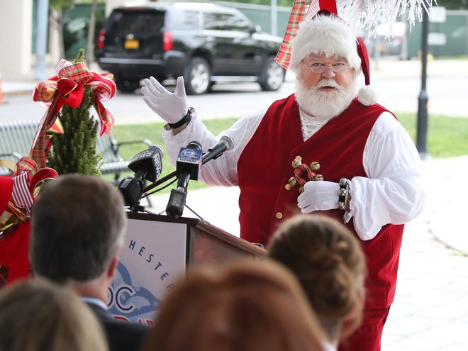 Santa Claus makes a special appearance and promises to return for the inaugural Roc Holiday Village during a press conference announcing plans for the new downtown event in Rochester, Thursday, Sept. 20, 2018 in Rochester.