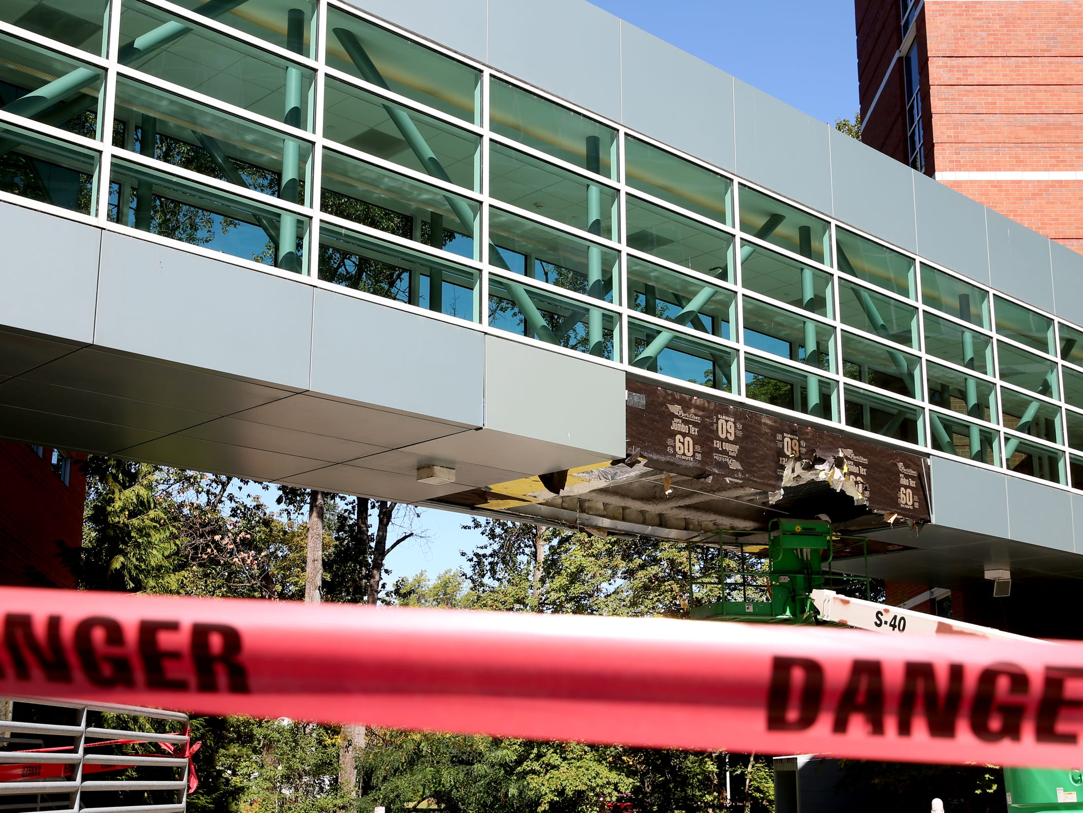 A skybridge at Salem Health is damaged after truck ran into it on Thursday, Sep. 20, 2018. The damage was determined cosmetic only, so the skybridge is still open to walk across.