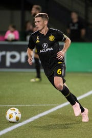 Sep 19, 2018; Portland, OR, USA; Columbus Crew midfielder Will Trapp (6) takes the ball up the field during the second half against the Portland Timbers at Providence Park.