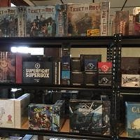 Some of the board games at Phat Catz Gaming Center, 2019 N Bryant Blvd.