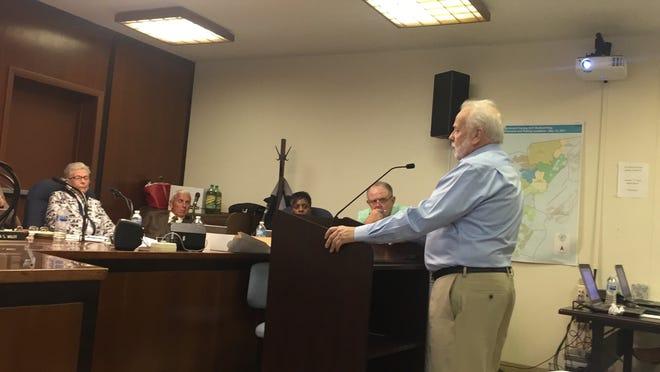 Developer Jack Sizeman addresses the Accomack County Board of Supervisors in Accomac, Virginia on Wednesday, Sept. 19., 2018.