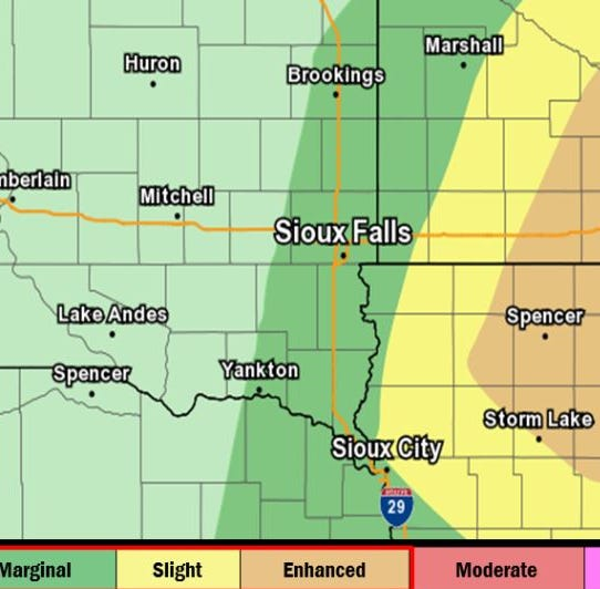 A chance of severe weather is possible for southeastern South Dakota on Thursday. Strong winds, ping pong ball-sized hail and even a tornado or two are possible.