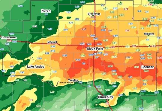Rainfall totals for 24 hours in southeast South Dakota.