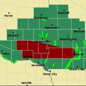 Severe weather possible in southeast South Dakota